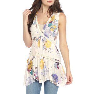 🛍 Free People Haze Cream Floral Tiered Tunic